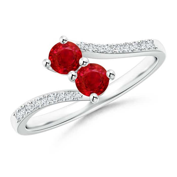 Angara Prong Set Ruby Bypass Ring with Diamond Accents in 14K White Gold dKbNI1JG8U