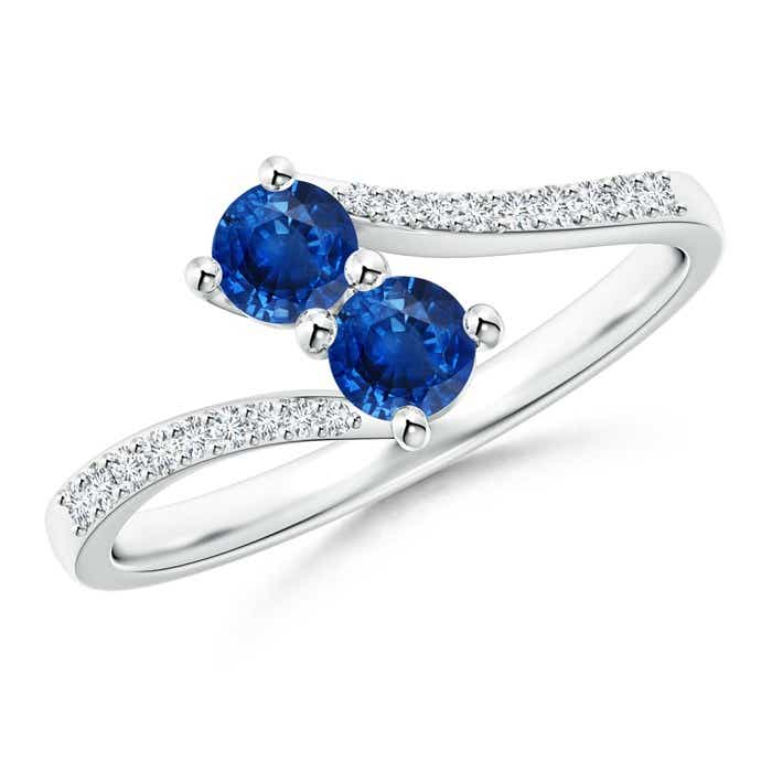 Angara Vintage Inspired Two Stone Blue Sapphire Ring with Diamond Accents ZLxOlE2g0p