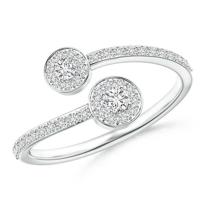 Angara Twisted Two Stone Diamond Bypass Engagement Ring