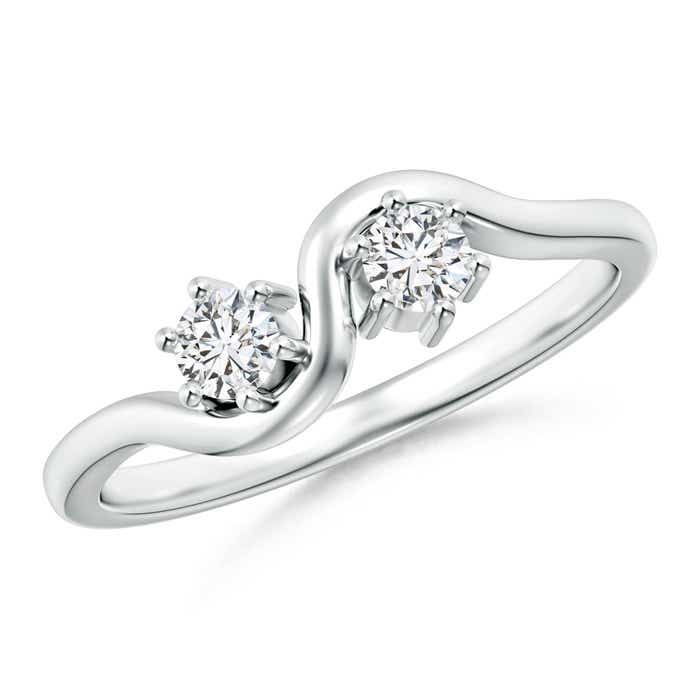 Angara Two Stone Diamond Ring in Platinum 9EH1KK