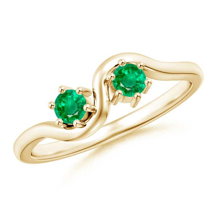 Angara Two Stone Emerald Twisted Ring in 14k Yellow Gold oH0QWq