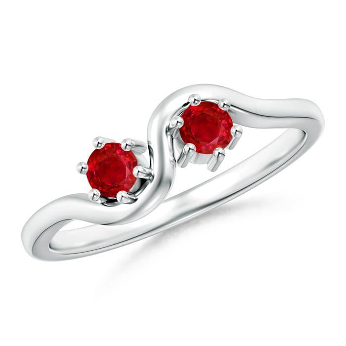 Angara Round Two Stone Twist Ruby Ring c3HRdbF5