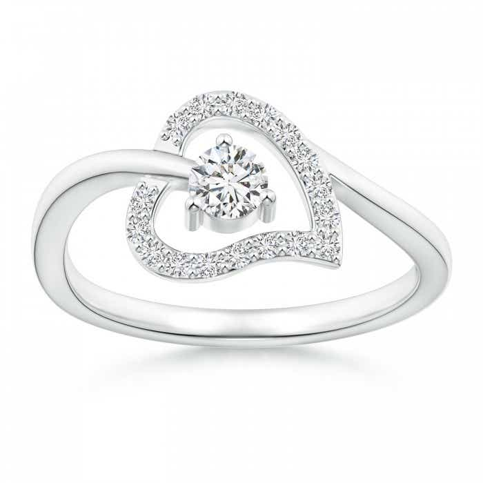 Angara Round Diamond Ribbon Heart Promise Ring NheoRSfnGx