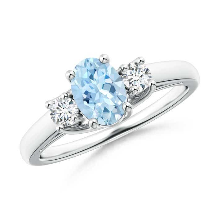 Angara Three Stone Aquamarine and Diamond Ring in Platinum