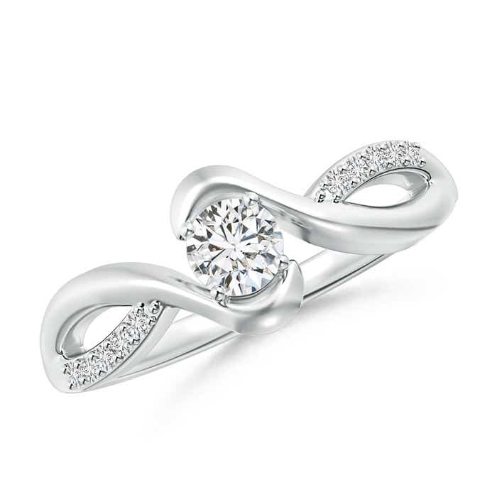 Angara Round Diamond Bypass Promise Ring for Her