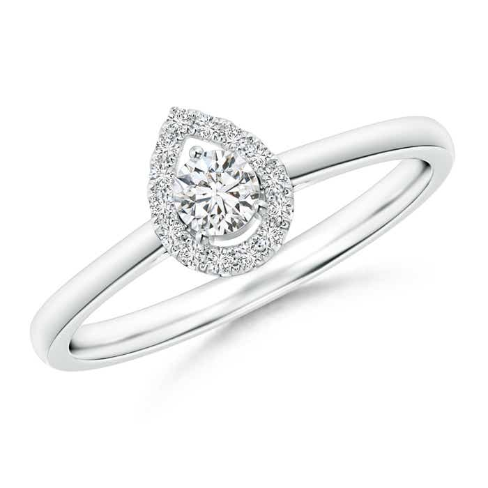 Angara Floating Round Diamond Pear Halo Ring 9DBNEor