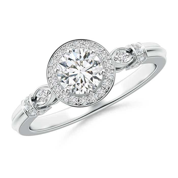 Angara Antique Diamond Engagement Ring with Diamond Shoulders 1trufl