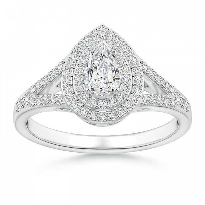 Angara Diamond Double Halo Split Shank Ring b7RyHiNIcQ
