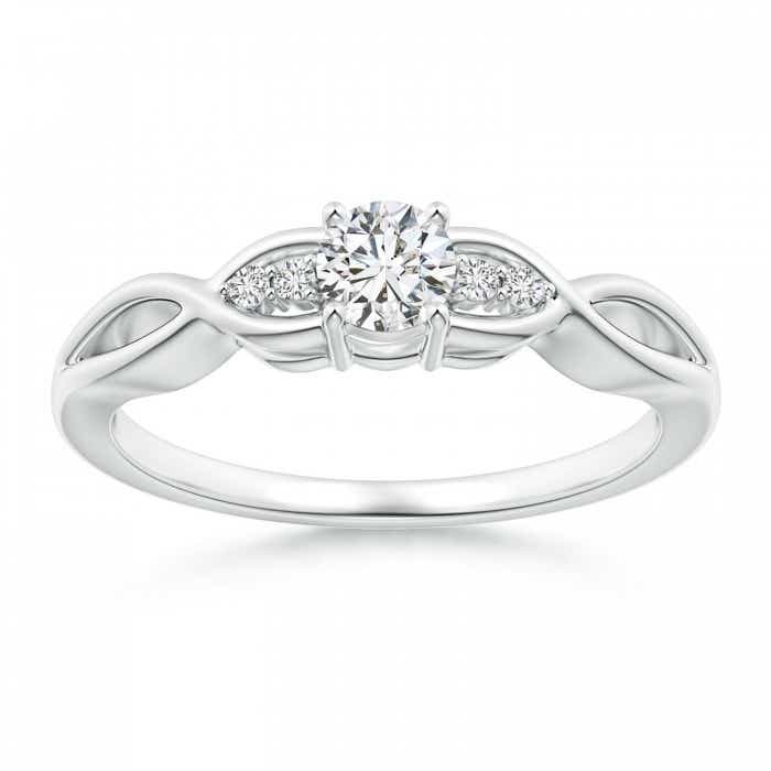 Angara Round Diamond Promise Ring with Prong Set 03BLs