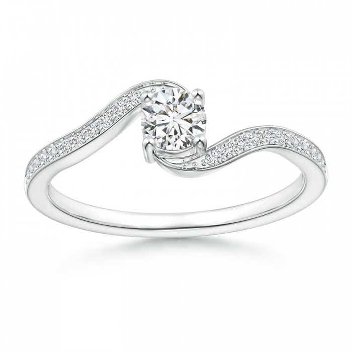 Angara Solitaire Round Diamond Promise Ring with Diamond Accents zJRJx