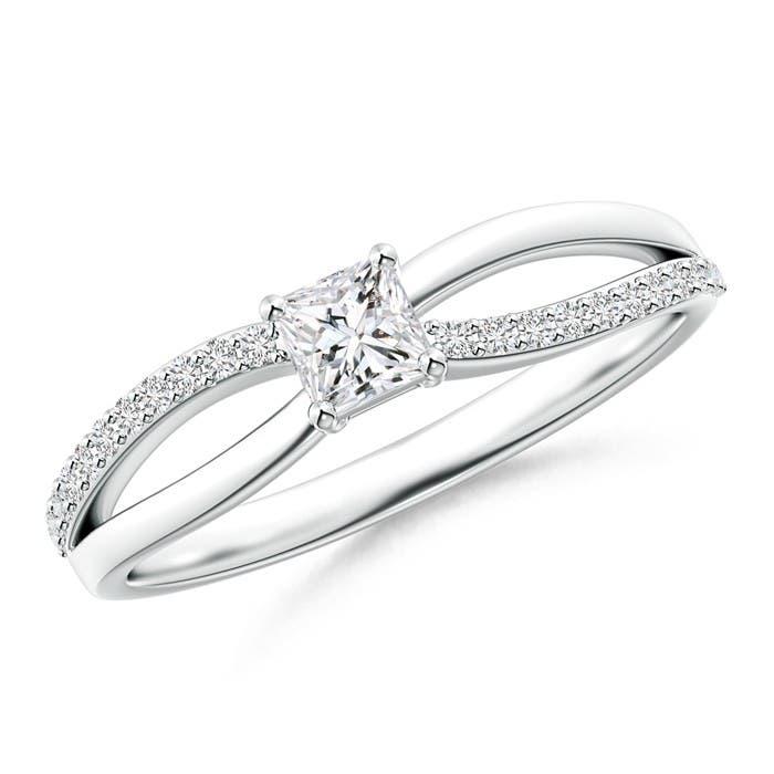 Angara Princess Cut Diamond Crossover Ring in Platinum wAh78i74
