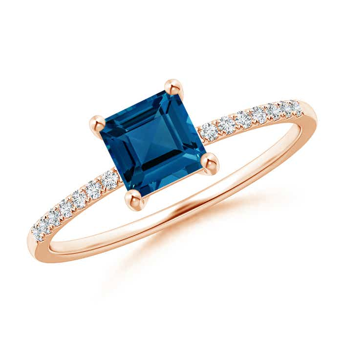 Angara East West Emerald-Cut London Blue Topaz Solitaire Ring in Platinum ChVrAX1B74