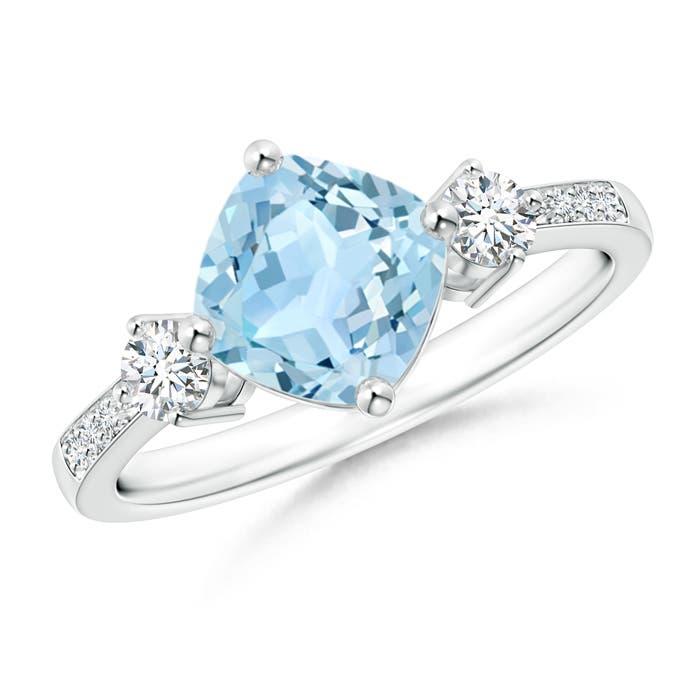 Angara Cushion sideways Aquamarine and Round Diamond Three Stone Ring oRcgqKaz