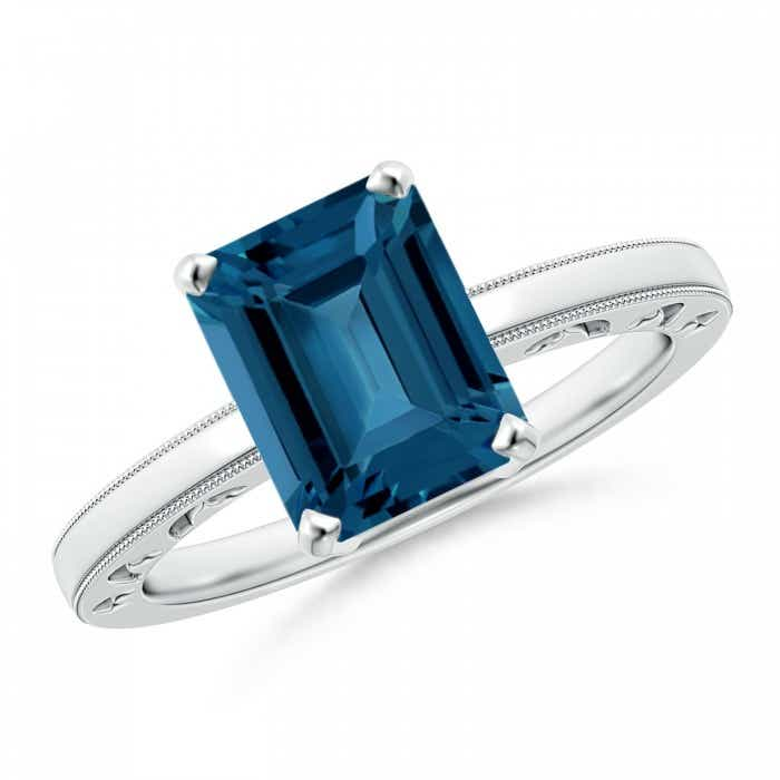Angara Emerald-Cut London Blue Topaz Solitaire Ring with Diamond in White Gold