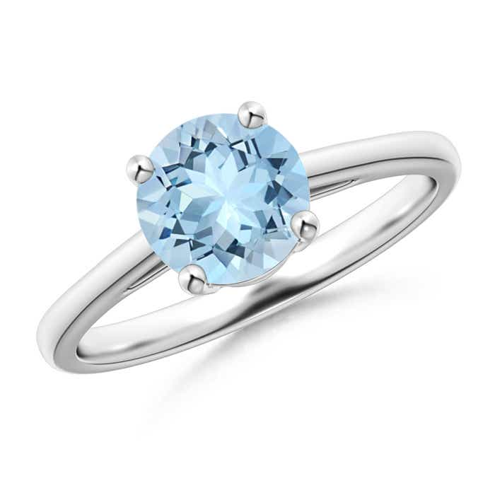 Angara Aquamarine Solitaire Ring with Diamond in 14k White Gold K3oRz