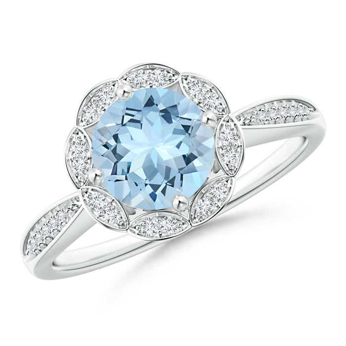Angara Round Floral Aquamarine Ring with Diamond Accents eMeNtK