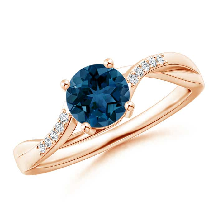 Angara Split Shank Vintage London Blue Topaz Ring in Rose Gold GyJ7N