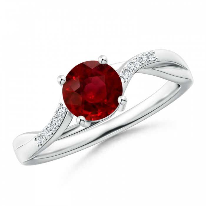 Angara Natural Ruby Diamond Cross Shank Ring in Platinum