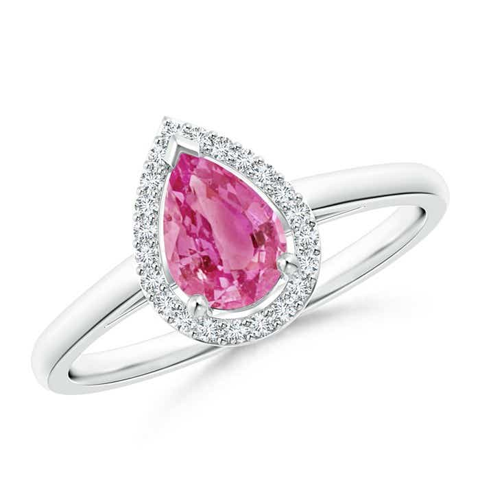 Angara Pear Shaped Pink Sapphire Engagement Ring with Diamond Halo of13it