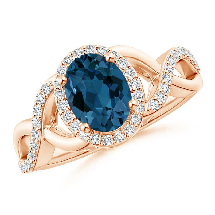 Angara Diamond Halo and Oval London Blue Topaz Engagement Ring in Rose Gold kHfQ2