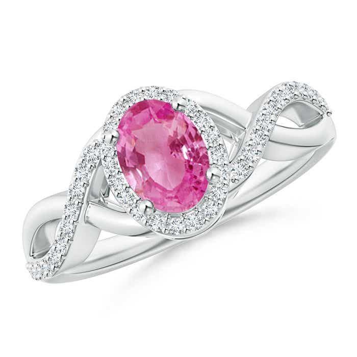 Angara Pink Sapphire Ring with Diamond Halo in Platinum