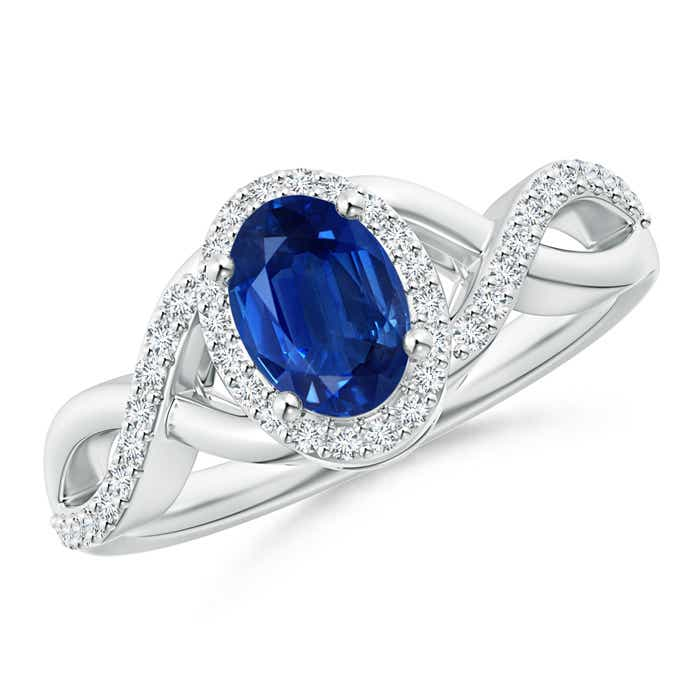 Angara Oval Blue Sapphire Crossover Ring in Platinum iaJbHpJf