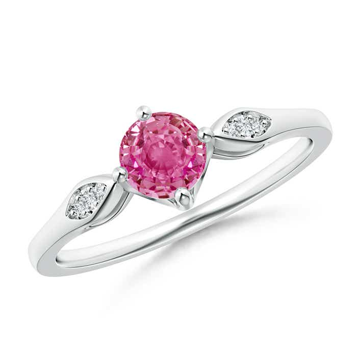 Angara Pink Sapphire Solitaire Ring with Diamond in Platinum LBiu0ca