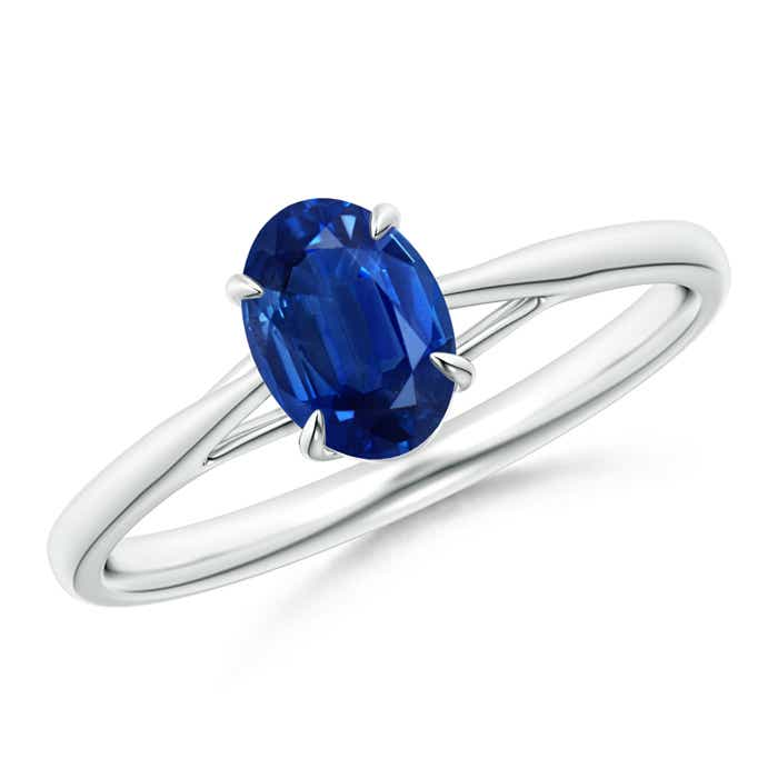 Angara Prong Set Oval Blue Sapphire Cathedral Solitaire Ring in Yellow Gold