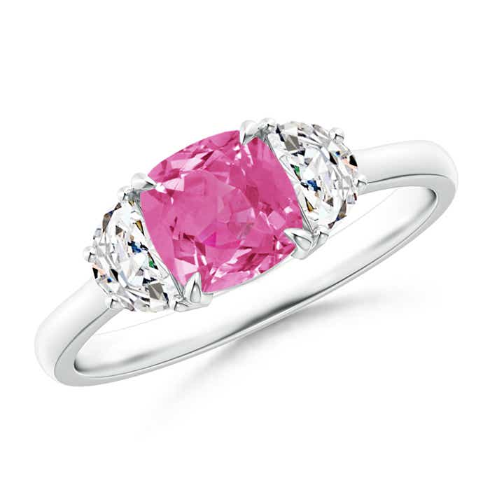 Angara Cushion Pink Tourmaline and Diamond Ring in 14k White Gold