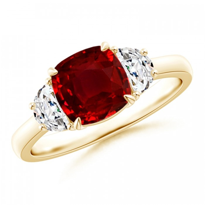 Angara Claw Cushion Ruby and Half Moon Diamond Halo Three Stone Ring OZOMhGj