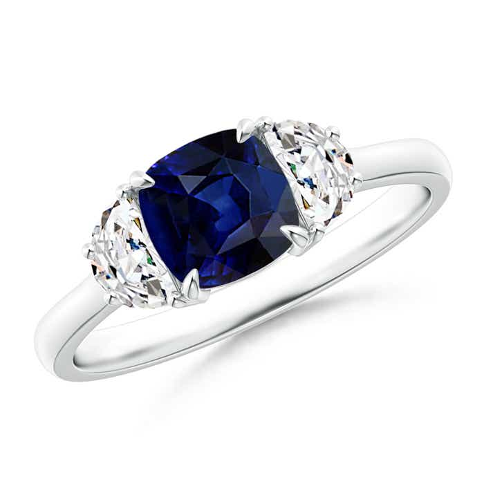 Angara Three Stone Diamond Ring with Blue Sapphire Side Stone in Yellow Gold
