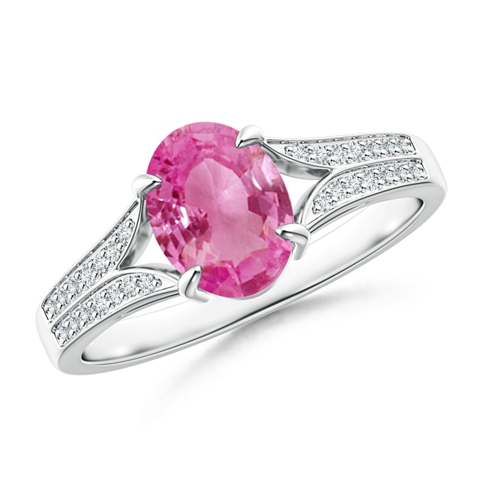 Angara Oval Pink Sapphire Crossover Ring with Diamond Halo GxJBuF