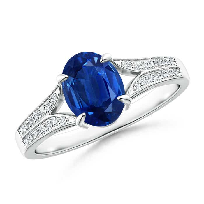 Angara Diamond Halo Blue Sapphire Solitaire Ring in 14k White Gold