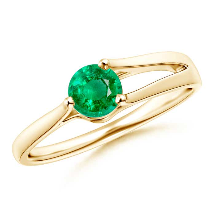 Angara Tapered Shank Round Emerald Solitaire Ring in White Gold dljiR