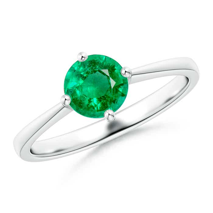 Angara Round Emerald Split Shank Ring in White Gold K8FRo