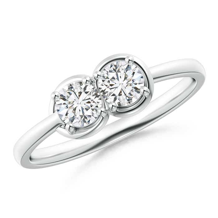 Angara Two Stone Diamond Split Shank Ring with Prong Setting