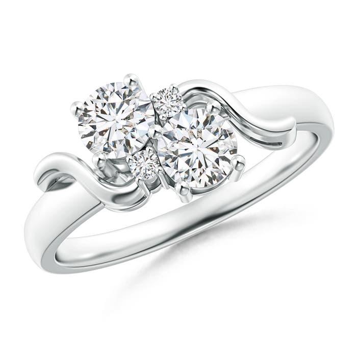 Angara Vintage Two Stone Diamond Ring with Swirl Motifs r59LMuS26y