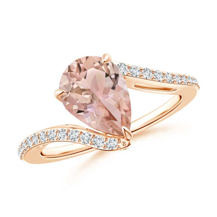 Angara Solitaire Pear Morganite Bypass Ring with Diamond Accents IIOFyau