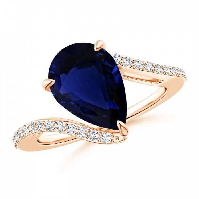 Angara GIA Certified Pear-Shaped Sapphire Bypass Ring with Diamonds 4G5kWt