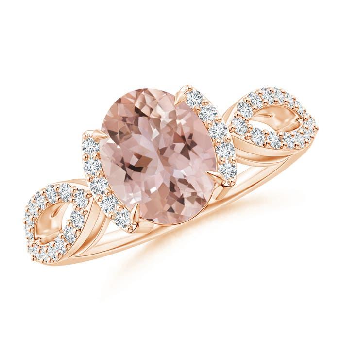 Angara Diamond Half Halo Split Shank Oval Morganite Ring ZJNSl1Z