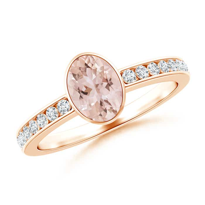 Angara Bezel-Set Vintage Oval Morganite Ring with Diamond Accents 66CMoQBjd