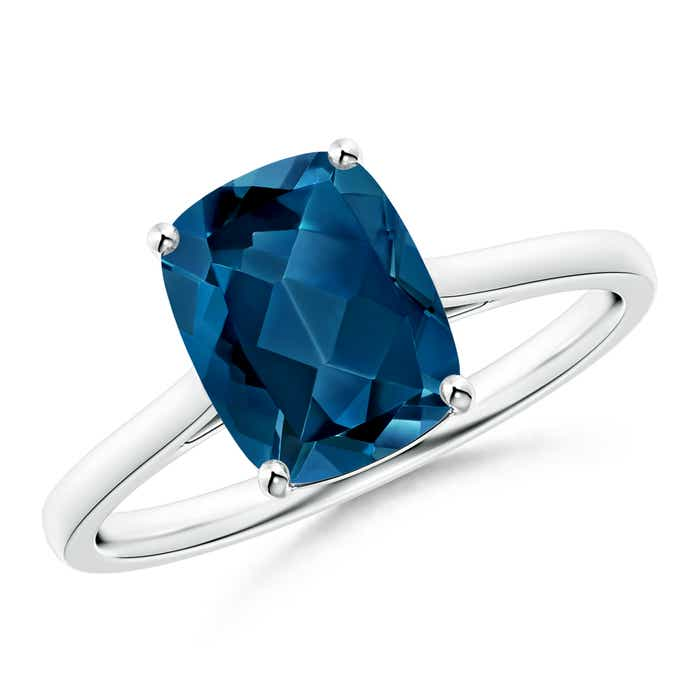 Angara Solitaire Cushion London Blue Topaz Ring with Trio Diamonds 066Jblb