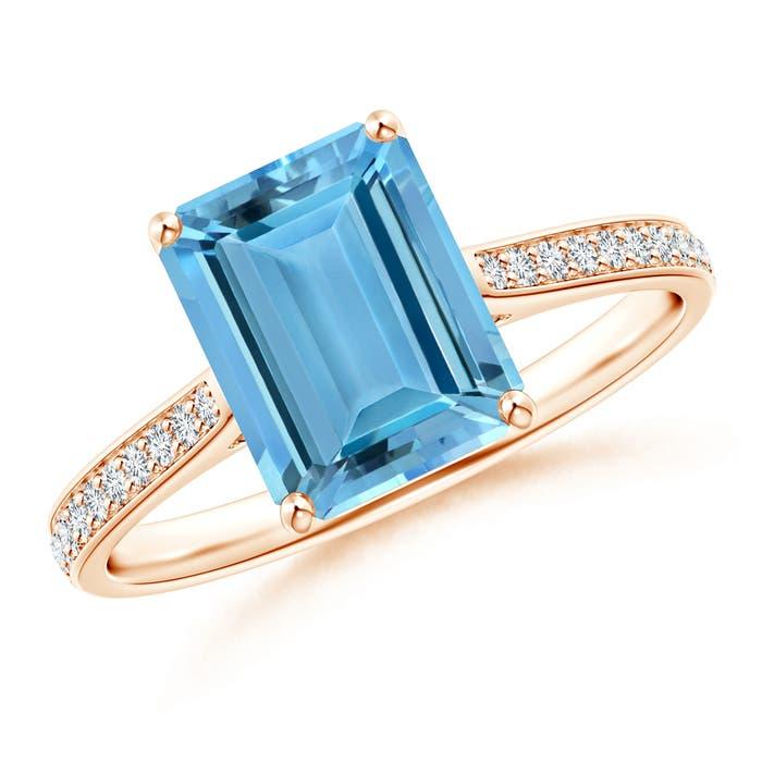 Angara Emerald-Cut Aquamarine Crossover Ring with Diamond Accents RoienQtB
