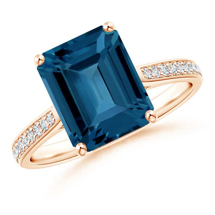 Angara Emerald-Cut London Blue Topaz Cocktail Ring in Rose Gold f8WjKxY9