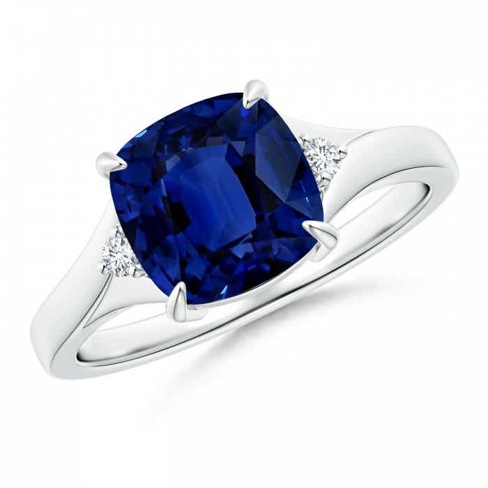 Angara Sapphire Ring - Twisted Rope GIA Certified Cushion Sapphire Halo Ring 1inVQpN