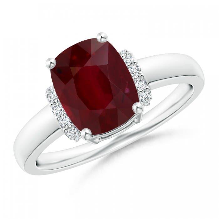 Angara Ruby Ring in 14k White Gold for Her 2gamu51