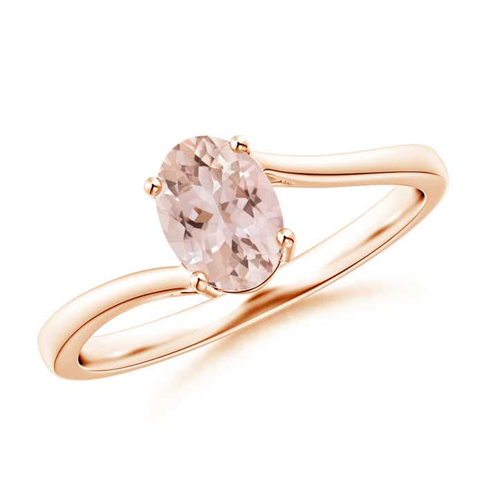 Angara Oval Morganite Ring with Diamond Wedding Band Set in Platinum