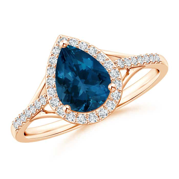 Angara London Blue Topaz Ring with Diamond Halo in White Gold PnUkQ07Yc