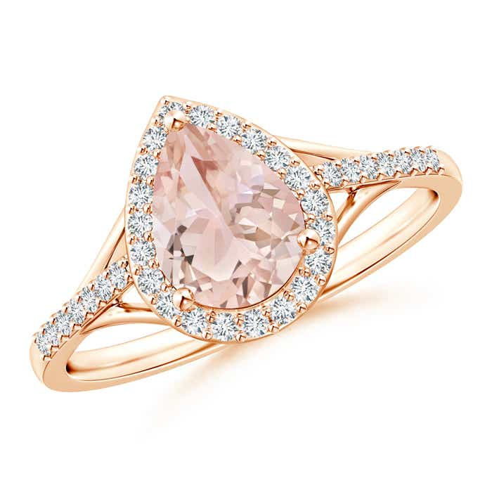 Angara Split Shank Pear Morganite and Diamond Halo Ring
