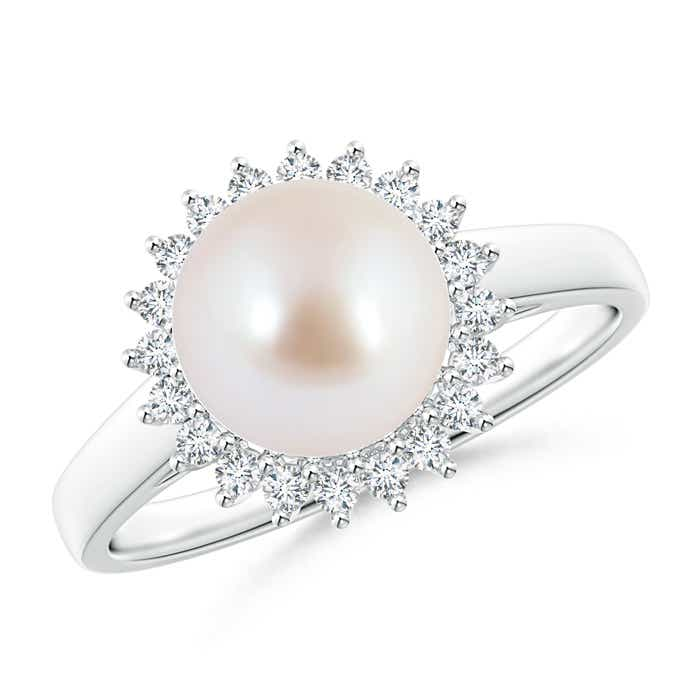 Angara Akoya Cultured Pearl Ring with Floral Halo GbGliNuYhh